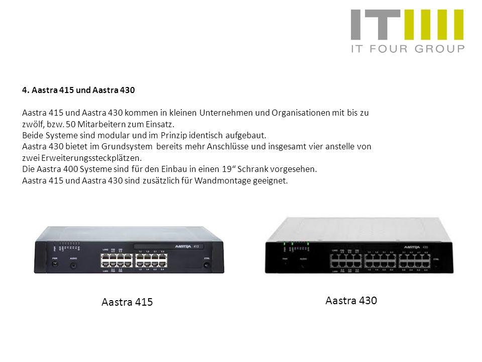 4. Aastra 415 und Aastra 430 Aastra 415 und Aastra 430 kommen in kleinen Unternehmen und Organisationen mit bis zu zwölf, bzw. 50 Mitarbeitern zum Ein