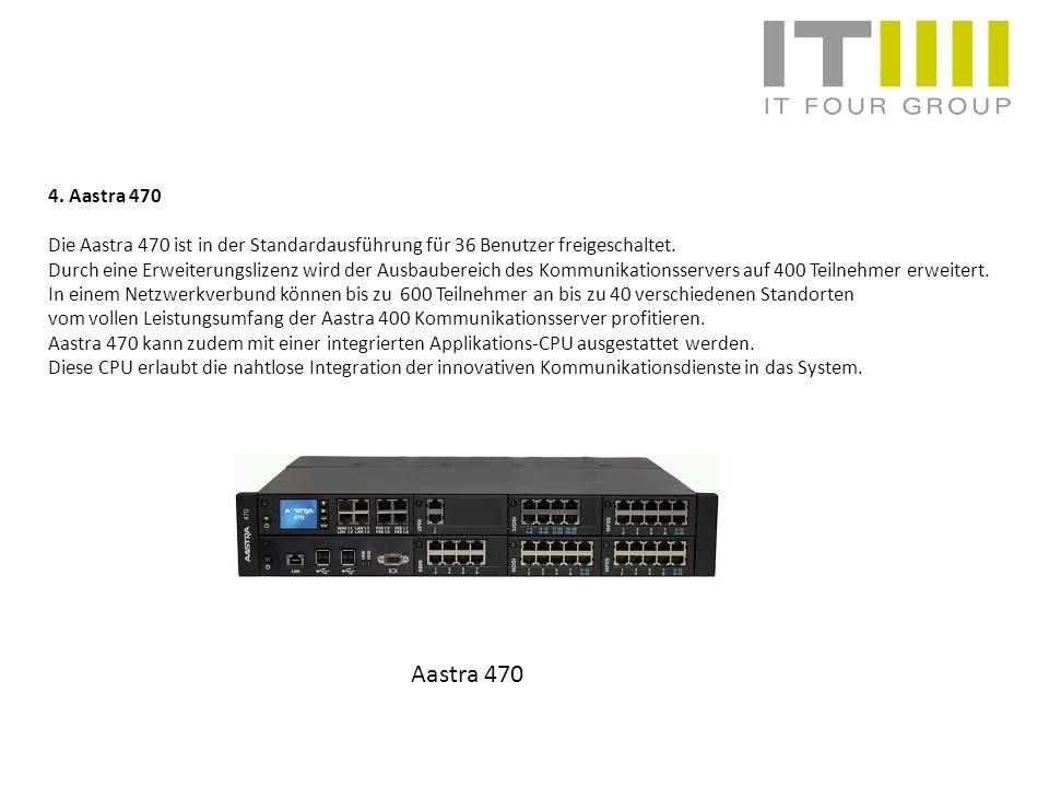 4. Aastra 470 Die Aastra 470 ist in der Standardausführung für 36 Benutzer freigeschaltet. Durch eine Erweiterungslizenz wird der Ausbaubereich des Ko