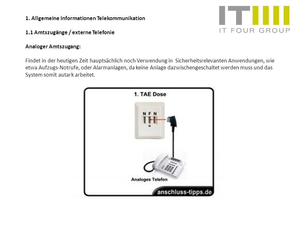 1. Allgemeine Informationen Telekommunikation 1.1 Amtszugänge / externe Telefonie Analoger Amtszugang: Findet in der heutigen Zeit hauptsächlich noch