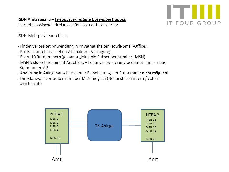 ISDN Amtszugang – Leitungsvermittelte Datenübertragung Hierbei ist zwischen drei Anschlüssen zu differenzieren: ISDN-Mehrgeräteanschluss: - Findet ver