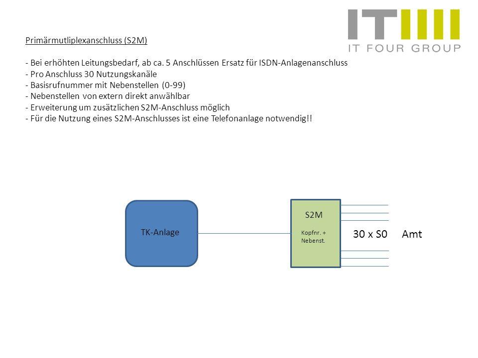Primärmutliplexanschluss (S2M) - Bei erhöhten Leitungsbedarf, ab ca. 5 Anschlüssen Ersatz für ISDN-Anlagenanschluss - Pro Anschluss 30 Nutzungskanäle