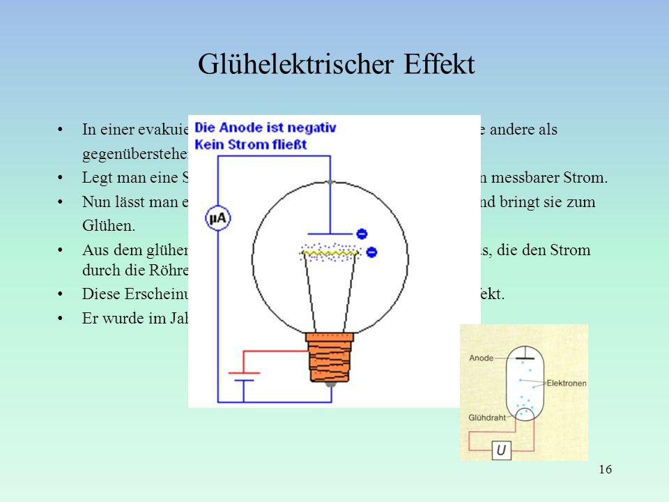Glühelektrischer Effekt In einer evakuierten Röhre ist eine Elektrode als Spirale, die andere als gegenüberstehende Platte ausgebildet. Legt man eine