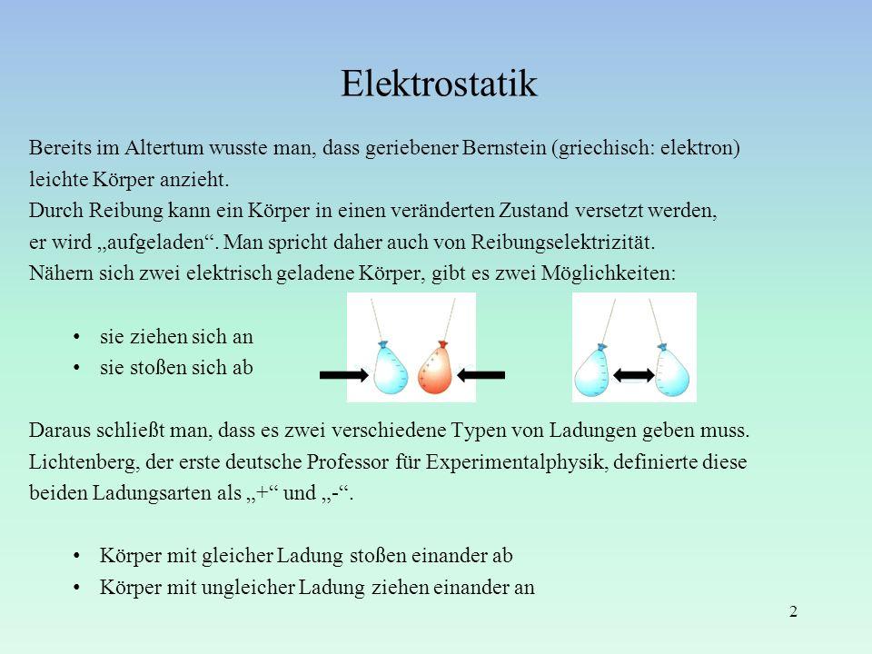Elektrostatik Bereits im Altertum wusste man, dass geriebener Bernstein (griechisch: elektron) leichte Körper anzieht. Durch Reibung kann ein Körper i