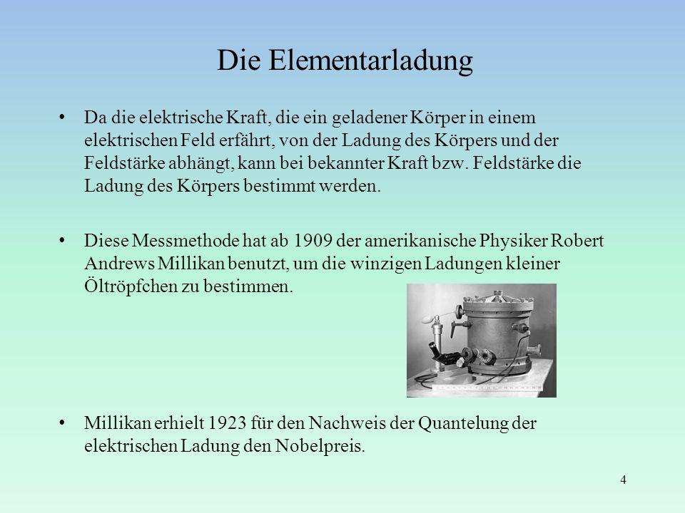 Die Elementarladung Da die elektrische Kraft, die ein geladener Körper in einem elektrischen Feld erfährt, von der Ladung des Körpers und der Feldstär
