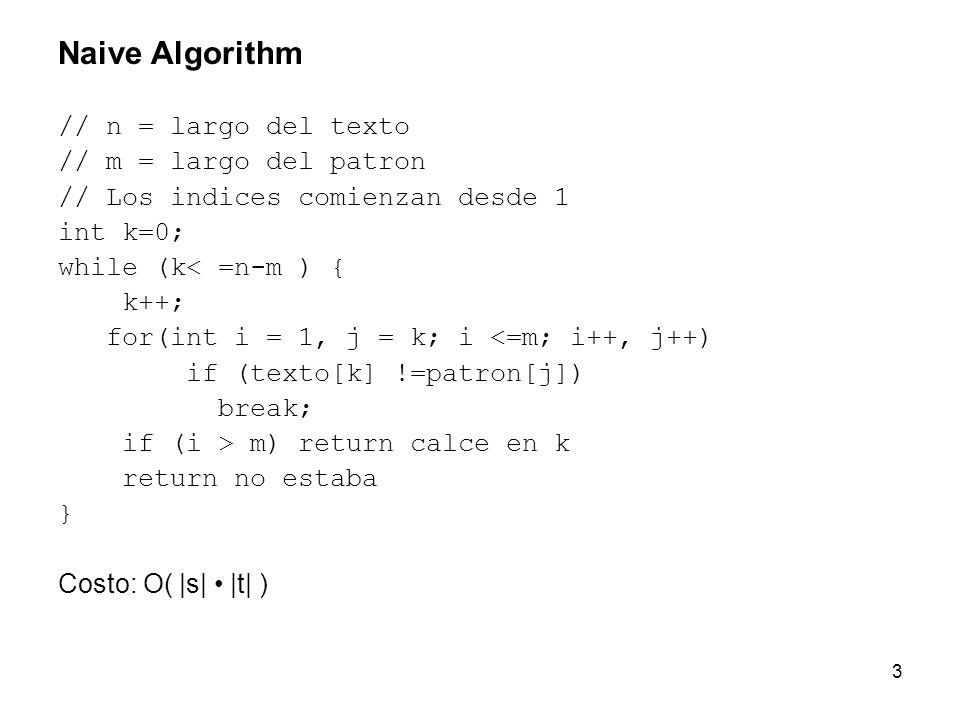 3 Naive Algorithm // n = largo del texto // m = largo del patron // Los indices comienzan desde 1 int k=0; while (k< =n-m ) { k++; for(int i = 1, j =