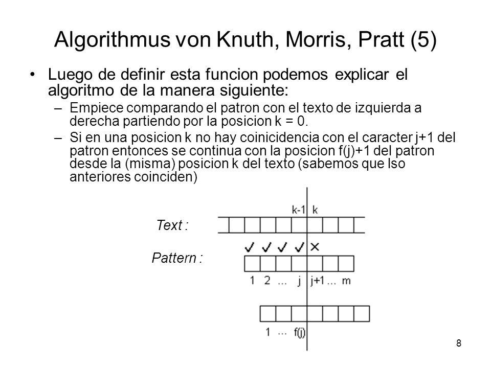 8 Algorithmus von Knuth, Morris, Pratt (5) Luego de definir esta funcion podemos explicar el algoritmo de la manera siguiente: –Empiece comparando el