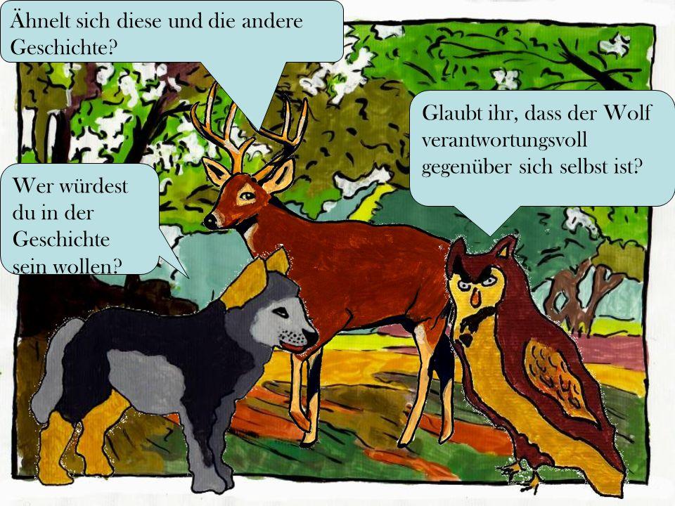 Glaubt ihr, dass der Wolf verantwortungsvoll gegenüber sich selbst ist? Wer würdest du in der Geschichte sein wollen? Ähnelt sich diese und die andere