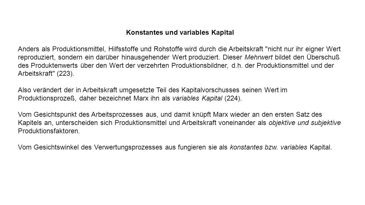 Konstantes und variables Kapital Anders als Produktionsmittel, Hilfsstoffe und Rohstoffe wird durch die Arbeitskraft