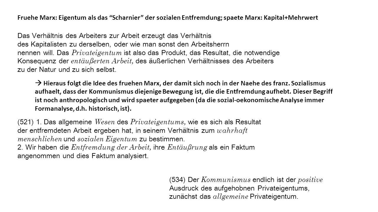 Fruehe Marx: Eigentum als das Scharnier der sozialen Entfremdung; spaete Marx: Kapital+Mehrwert Das Verhältnis des Arbeiters zur Arbeit erzeugt das Verhältnis des Kapitalisten zu derselben, oder wie man sonst den Arbeitsherrn nennen will.