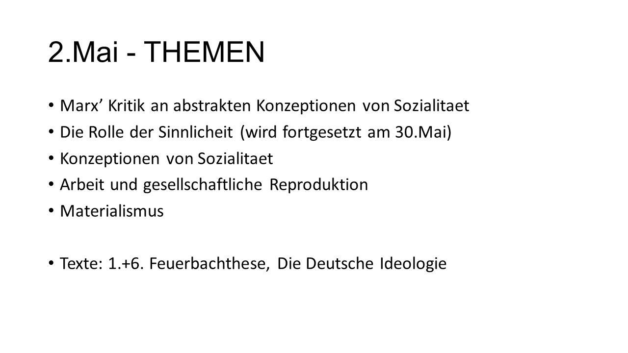2.Mai - THEMEN Marx Kritik an abstrakten Konzeptionen von Sozialitaet Die Rolle der Sinnlicheit (wird fortgesetzt am 30.Mai) Konzeptionen von Sozialitaet Arbeit und gesellschaftliche Reproduktion Materialismus Texte: 1.+6.