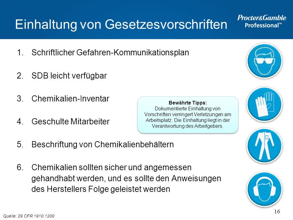 Einhaltung von Gesetzesvorschriften 1.Schriftlicher Gefahren-Kommunikationsplan 2.SDB leicht verfügbar 3.Chemikalien-Inventar 4.Geschulte Mitarbeiter