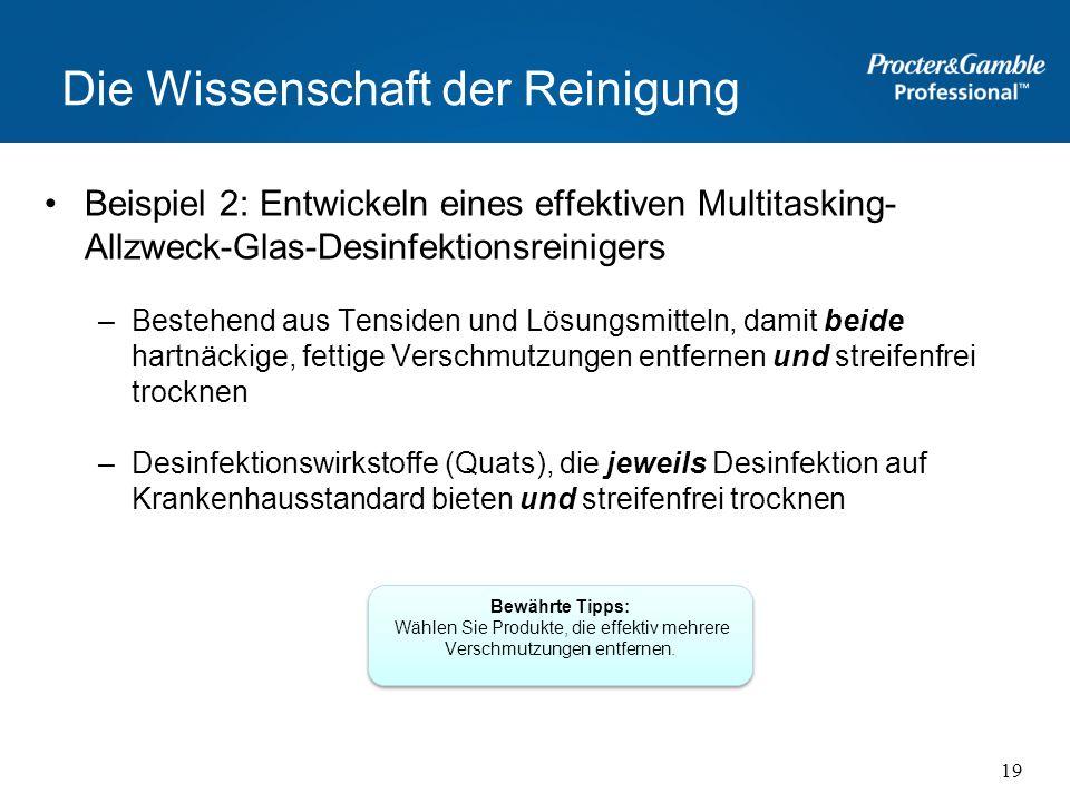 Die Wissenschaft der Reinigung Beispiel 2: Entwickeln eines effektiven Multitasking- Allzweck-Glas-Desinfektionsreinigers –Bestehend aus Tensiden und