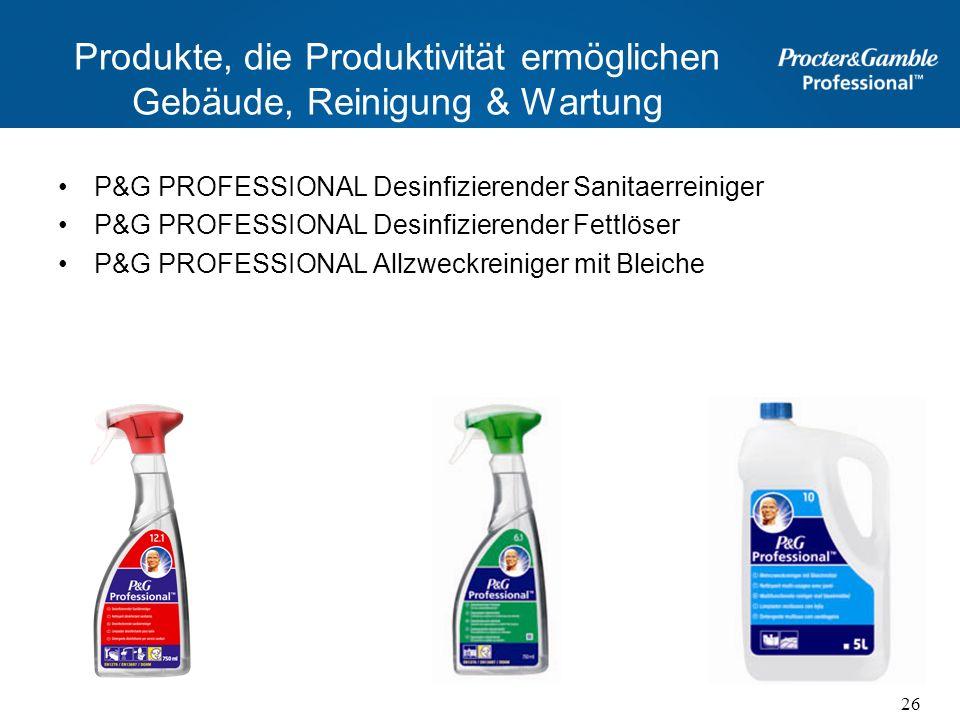 Produkte, die Produktivität ermöglichen Gebäude, Reinigung & Wartung P&G PROFESSIONAL Desinfizierender Sanitaerreiniger P&G PROFESSIONAL Desinfizieren