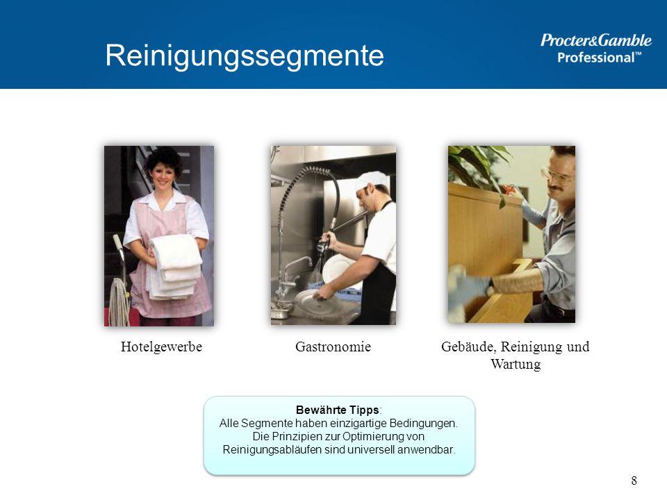 Reinigungssegmente HotelgewerbeGebäude, Reinigung und Wartung Gastronomie Bewährte Tipps: Alle Segmente haben einzigartige Bedingungen. Die Prinzipien