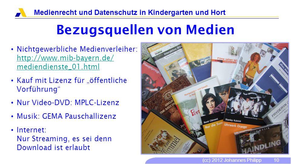 (cc) 2012 Johannes Philipp Medienrecht und Datenschutz in Kindergarten und Hort 10 Bezugsquellen von Medien Nichtgewerbliche Medienverleiher: http://w