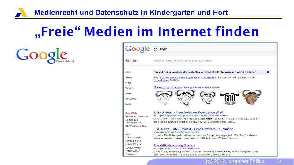 (cc) 2012 Johannes Philipp Medienrecht und Datenschutz in Kindergarten und Hort 15 Freie Medien im Internet finden Website: http://prosario-2000.0catch.com/http://prosario-2000.0catch.com/ Freie Lizenz.