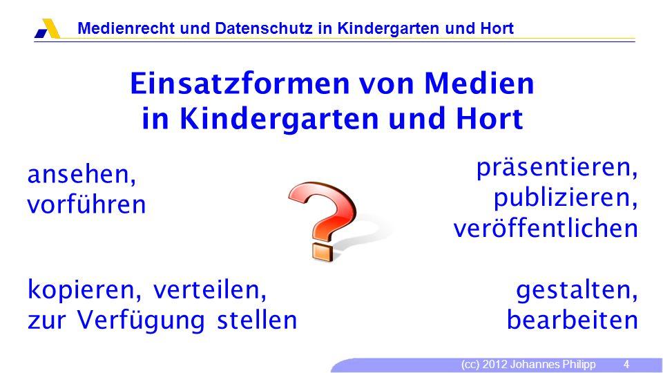 (cc) 2012 Johannes Philipp Medienrecht und Datenschutz in Kindergarten und Hort 5 Einsatzformen von Medien in Kindergarten und Hort Kindergärten, Horte, Freizeitstätten sind öffentlich!