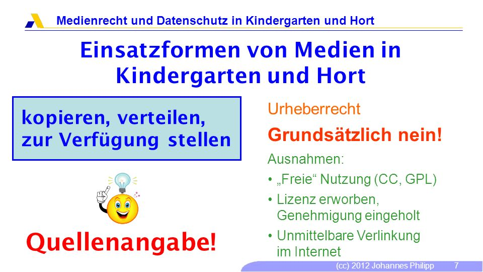 (cc) 2012 Johannes Philipp Medienrecht und Datenschutz in Kindergarten und Hort 8 gestalten, bearbeiten Urheberrecht, Persönlichkeitsrechte, Allgemeine Gesetze Datenschutz Recht am eigenen Bild Auch Schüler sind Schöpfer Achtung bei Nutzung fremder Medien.