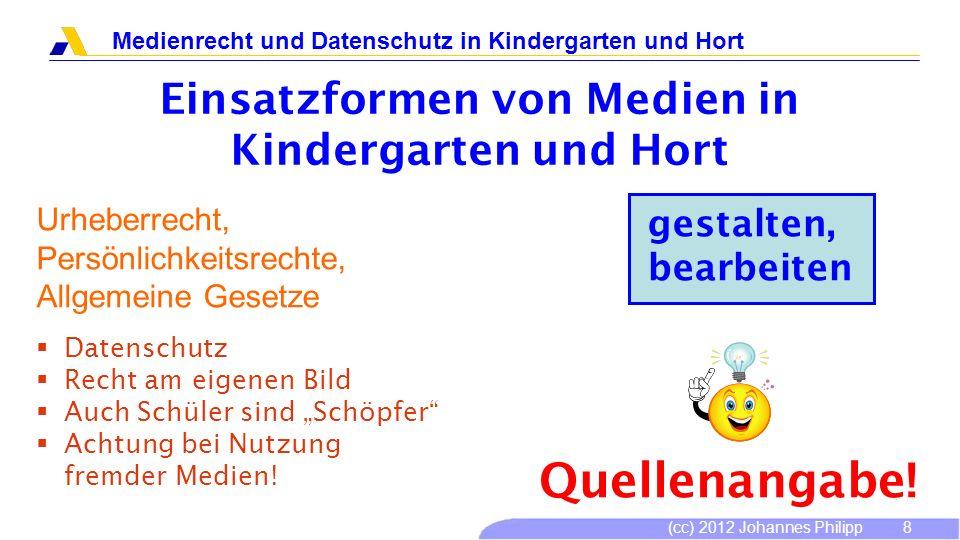 (cc) 2012 Johannes Philipp Medienrecht und Datenschutz in Kindergarten und Hort 8 gestalten, bearbeiten Urheberrecht, Persönlichkeitsrechte, Allgemein