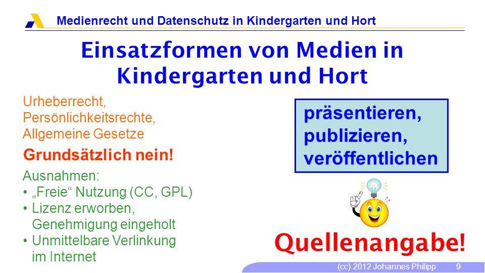 (cc) 2012 Johannes Philipp Medienrecht und Datenschutz in Kindergarten und Hort 10 Bezugsquellen von Medien Nichtgewerbliche Medienverleiher: http://www.mib-bayern.de/ mediendienste_01.html http://www.mib-bayern.de/ mediendienste_01.html Kauf mit Lizenz für öffentliche Vorführung Nur Video-DVD: MPLC-Lizenz Musik: GEMA Pauschallizenz Internet: Nur Streaming, es sei denn Download ist erlaubt