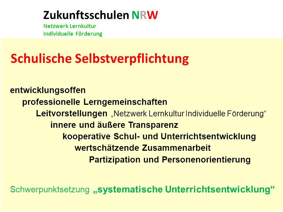 Zukunftsschulen NRW Netzwerk Lernkultur Individuelle Förderung entwicklungsoffen professionelle Lerngemeinschaften Leitvorstellungen Netzwerk Lernkult