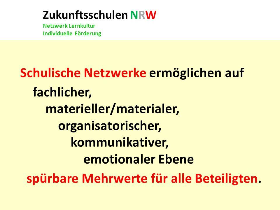 Zukunftsschulen NRW Netzwerk Lernkultur Individuelle Förderung Schulische Netzwerke ermöglichen auf fachlicher, materieller/materialer, organisatorisc