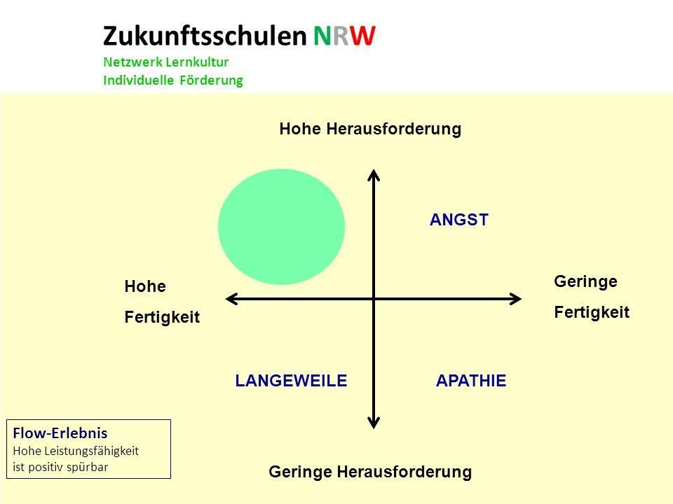 Zukunftsschulen NRW Netzwerk Lernkultur Individuelle Förderung Hohe Herausforderung Geringe Herausforderung FLOW ANGST LANGEWEILE APATHIE Geringe Fert