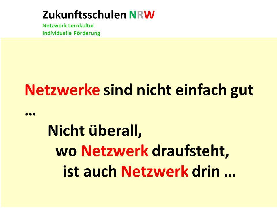 Zukunftsschulen NRW Netzwerk Lernkultur Individuelle Förderung Netzwerke sind nicht einfach gut … Nicht überall, wo Netzwerk draufsteht, ist auch Netz