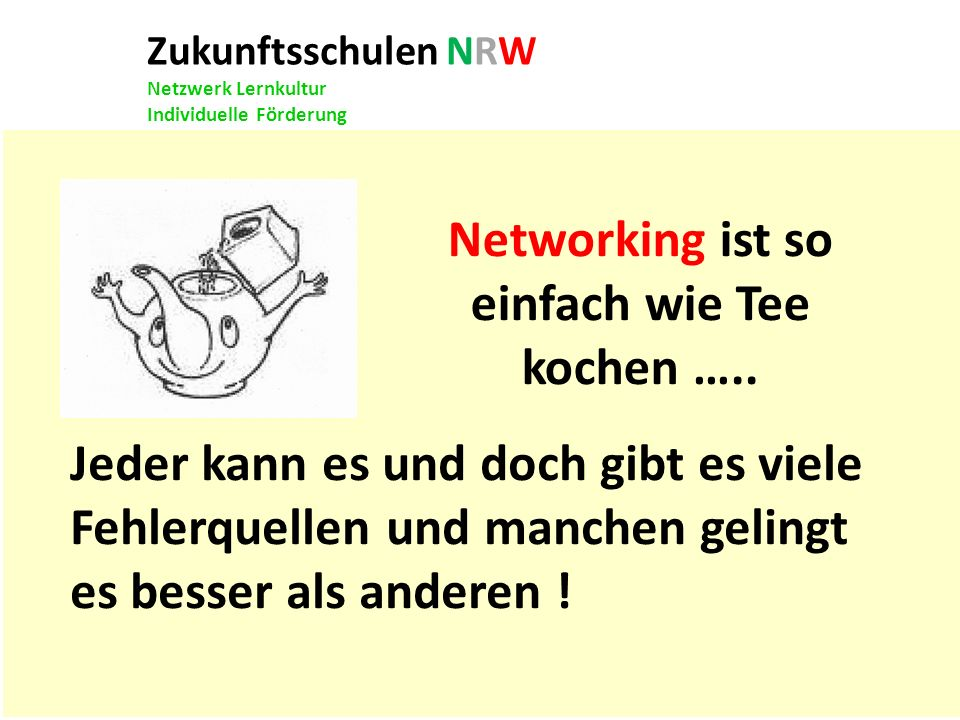 Zukunftsschulen NRW Netzwerk Lernkultur Individuelle Förderung Jeder kann es und doch gibt es viele Fehlerquellen und manchen gelingt es besser als an