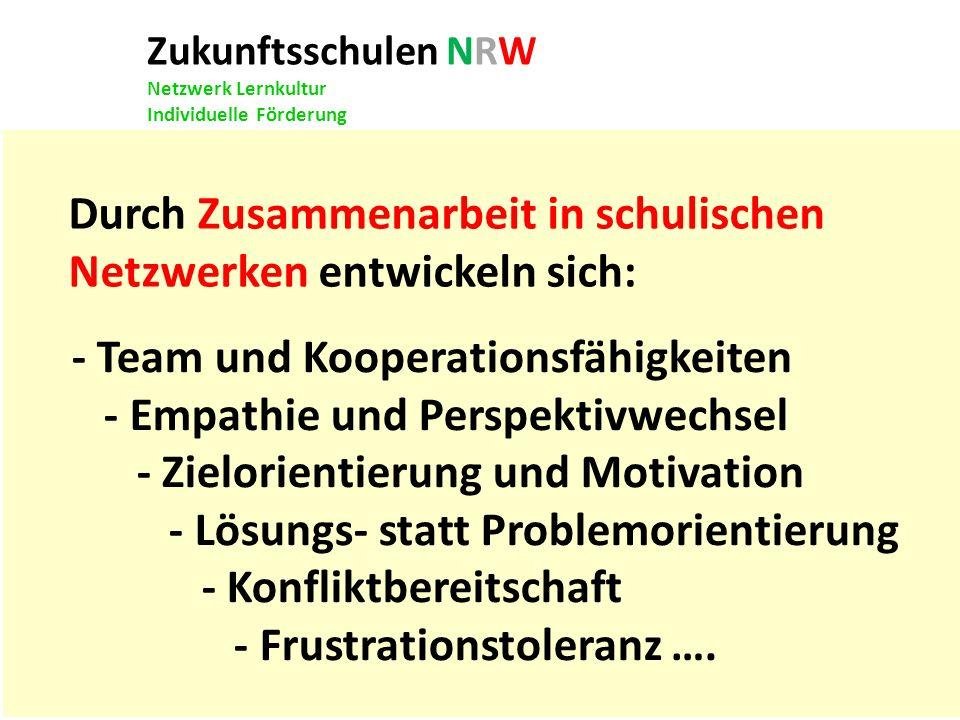 Zukunftsschulen NRW Netzwerk Lernkultur Individuelle Förderung Durch Zusammenarbeit in schulischen Netzwerken entwickeln sich: - Team und Kooperations