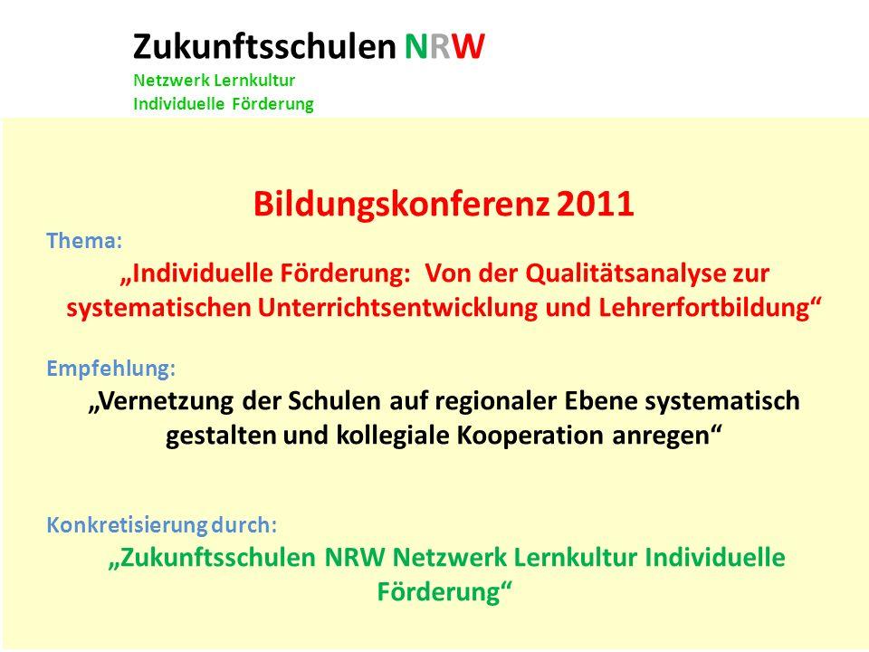Zukunftsschulen NRW Netzwerk Lernkultur Individuelle Förderung Bildungskonferenz 2011 Thema: Individuelle Förderung: Von der Qualitätsanalyse zur syst