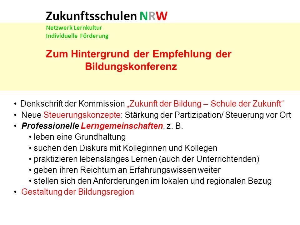 Zukunftsschulen NRW Netzwerk Lernkultur Individuelle Förderung Vorläuferprojekte: Gütesiegel Individuelle Förderung Komm mit.