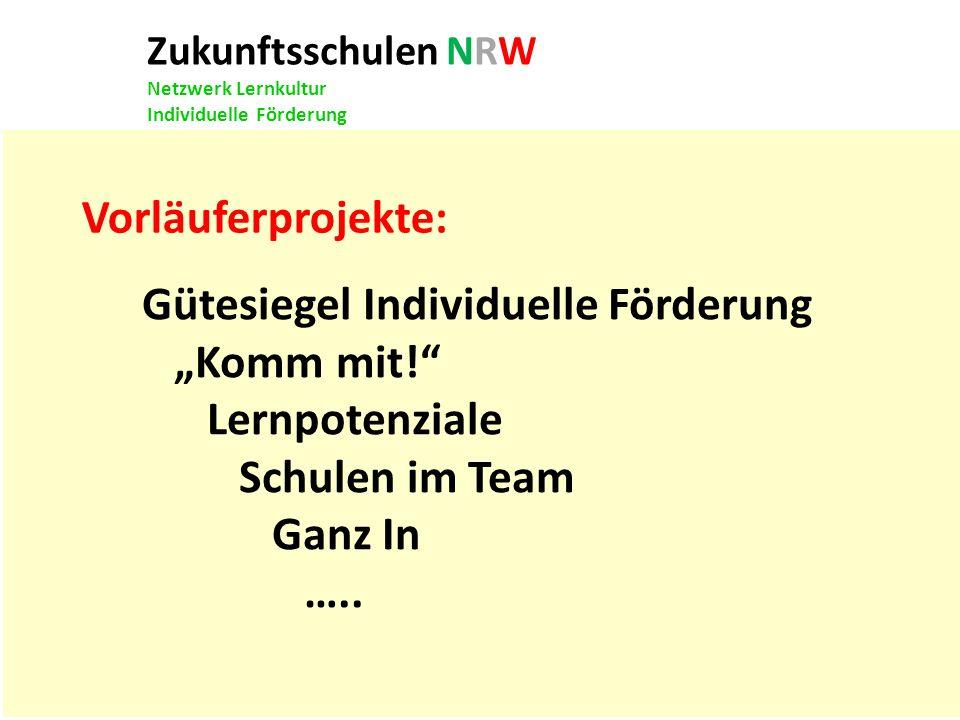 Zukunftsschulen NRW Netzwerk Lernkultur Individuelle Förderung Vorläuferprojekte: Gütesiegel Individuelle Förderung Komm mit! Lernpotenziale Schulen i
