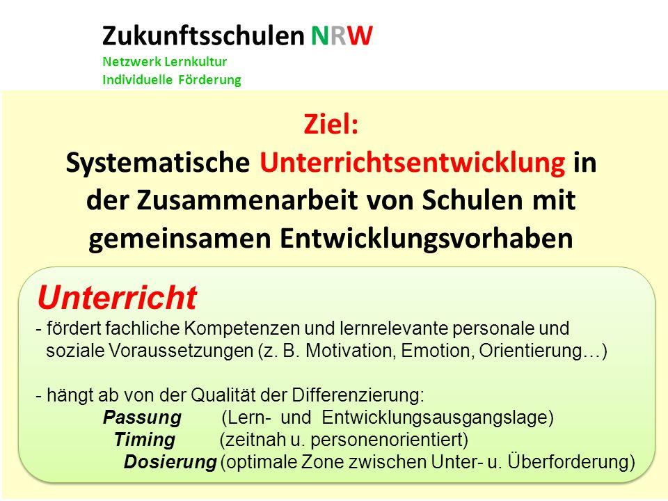 Zukunftsschulen NRW Netzwerk Lernkultur Individuelle Förderung Ziel: Systematische Unterrichtsentwicklung in der Zusammenarbeit von Schulen mit gemein