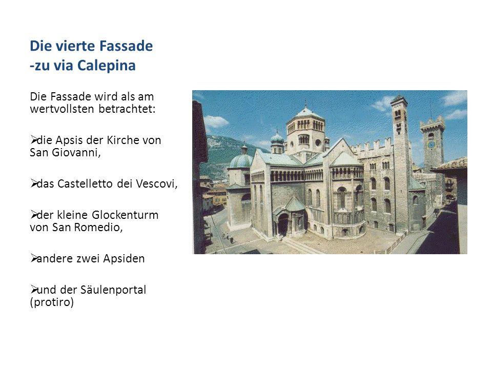 Das Innere drei Kirchenschiffe, geteilt durch 14 Pfeiler, und zwei seitliche Treppen, die bis zum Glockenturm Das Hochaltar [1743, Sartori Brudern] ist in Apsis des Hauptkirchenschiffes; da liegt eine gotische Urne mit den Überresten von San Virgilio.