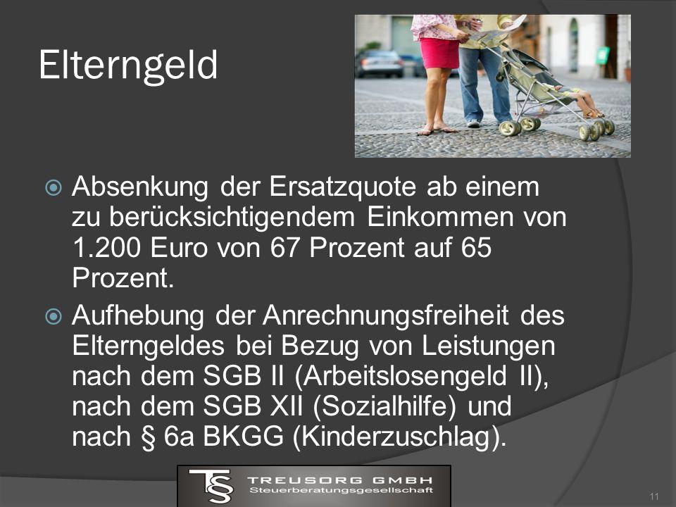Elterngeld Absenkung der Ersatzquote ab einem zu berücksichtigendem Einkommen von 1.200 Euro von 67 Prozent auf 65 Prozent.
