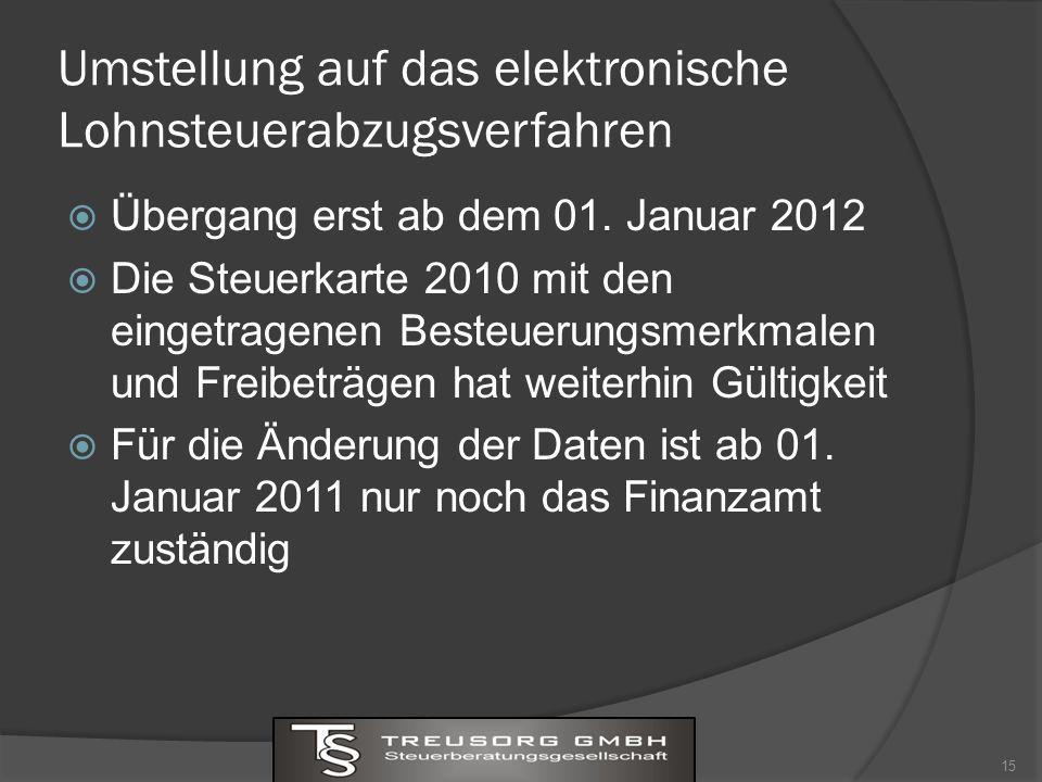Umstellung auf das elektronische Lohnsteuerabzugsverfahren Übergang erst ab dem 01.