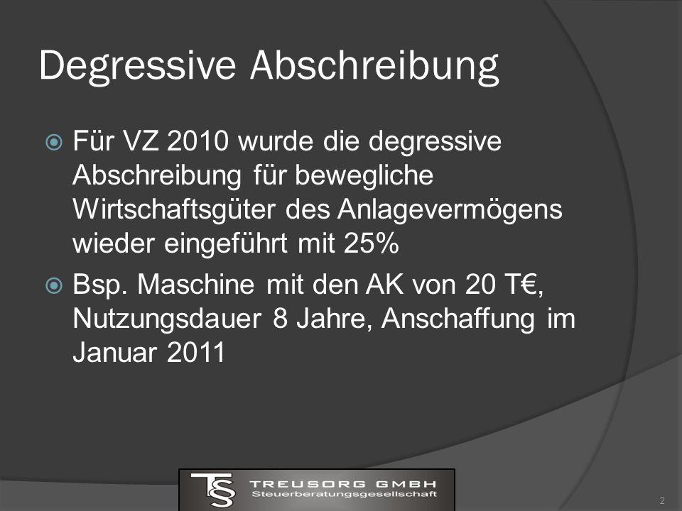 Degressive Abschreibung Für VZ 2010 wurde die degressive Abschreibung für bewegliche Wirtschaftsgüter des Anlagevermögens wieder eingeführt mit 25% Bsp.