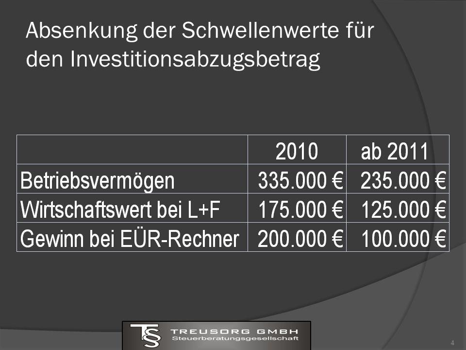 Absenkung der Schwellenwerte für den Investitionsabzugsbetrag 4