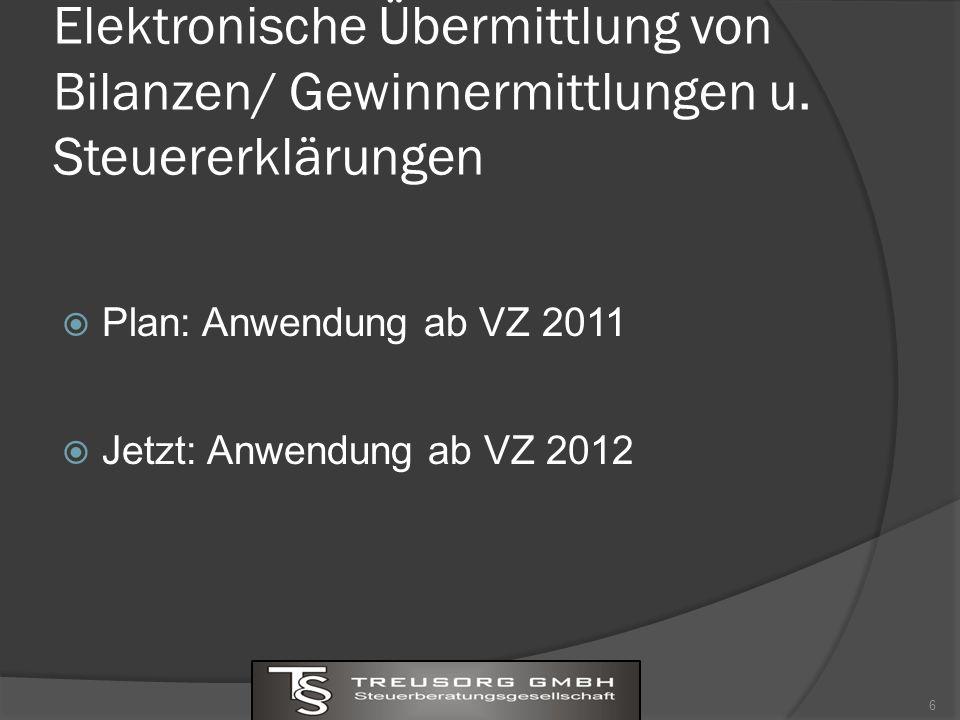 Elektronische Übermittlung von Bilanzen/ Gewinnermittlungen u.