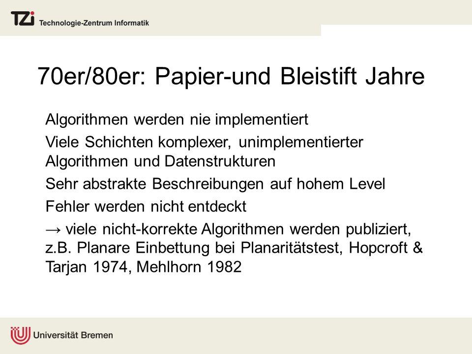 70er/80er: Papier-und Bleistift Jahre Algorithmen werden nie implementiert Viele Schichten komplexer, unimplementierter Algorithmen und Datenstrukture