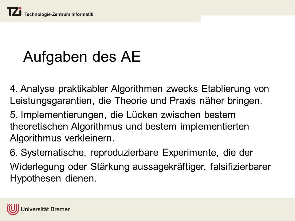 Aufgaben des AE 4. Analyse praktikabler Algorithmen zwecks Etablierung von Leistungsgarantien, die Theorie und Praxis näher bringen. 5. Implementierun