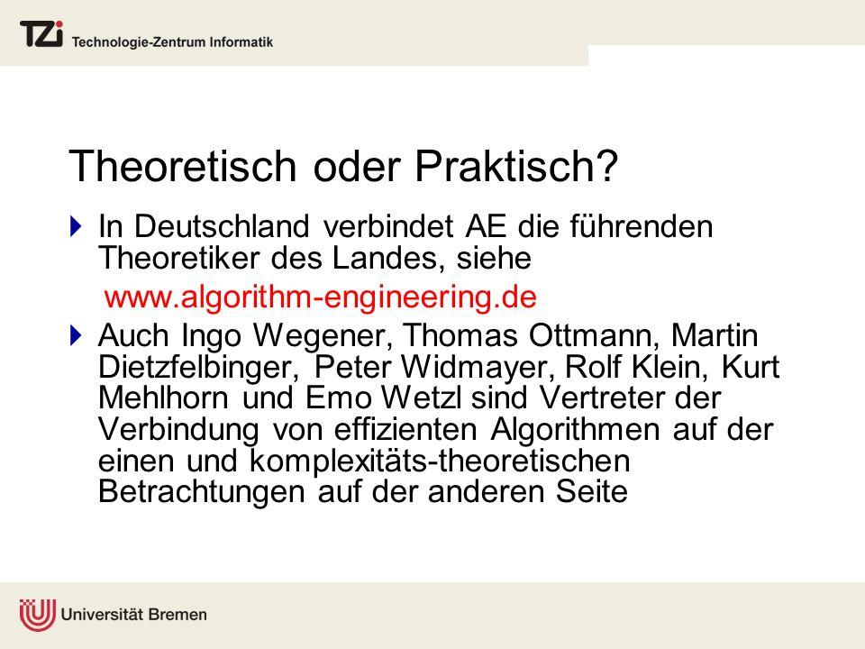 Theoretisch oder Praktisch? In Deutschland verbindet AE die führenden Theoretiker des Landes, siehe www.algorithm-engineering.de Auch Ingo Wegener, Th