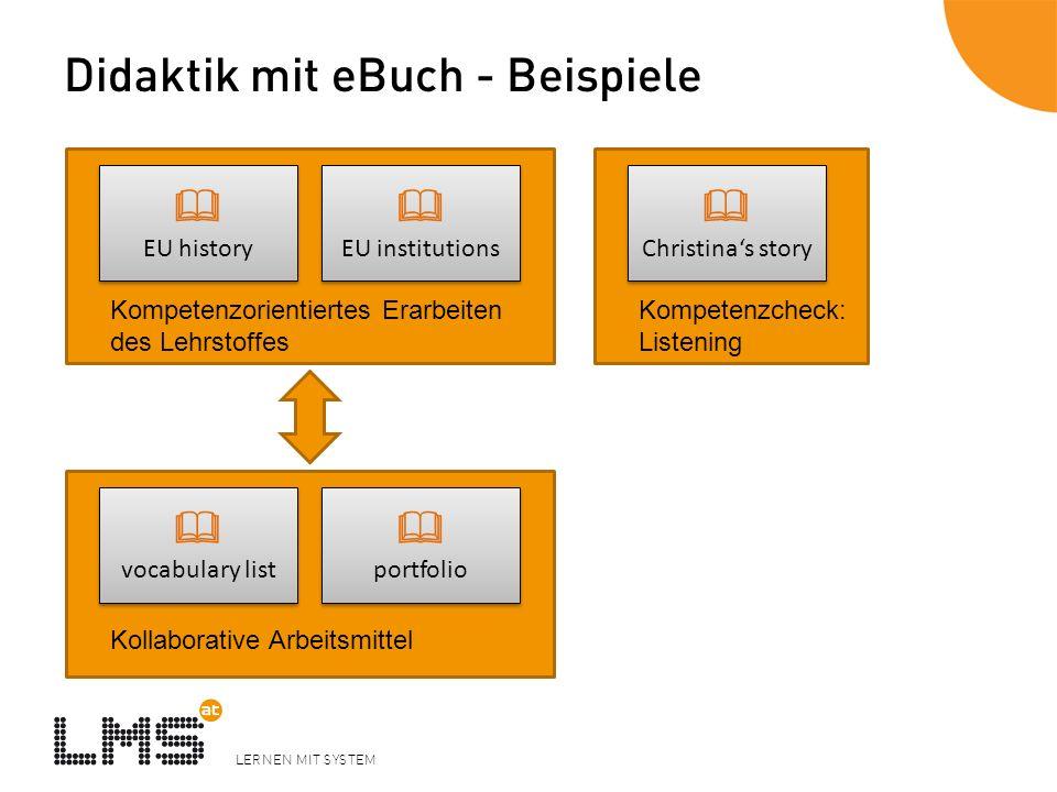 LERNEN MIT SYSTEM Didaktik mit eBuch - Beispiele EU history EU history EU institutions EU institutions Kompetenzorientiertes Erarbeiten des Lehrstoffe