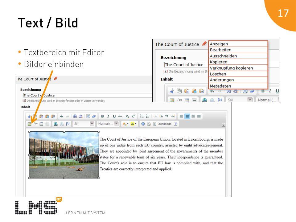 LERNEN MIT SYSTEM Text / Bild Textbereich mit Editor Bilder einbinden 17