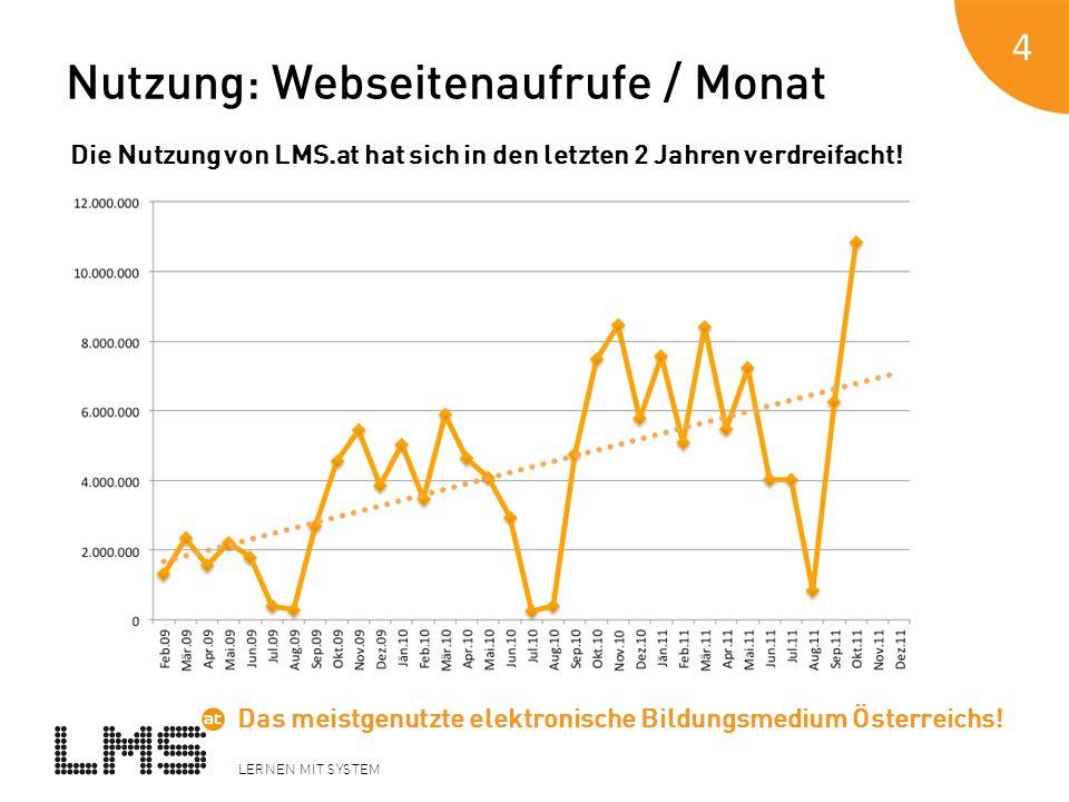 LERNEN MIT SYSTEM Nutzung: Webseitenaufrufe / Monat 4 Die Nutzung von LMS.at hat sich in den letzten 2 Jahren verdreifacht! Das meistgenutzte elektron