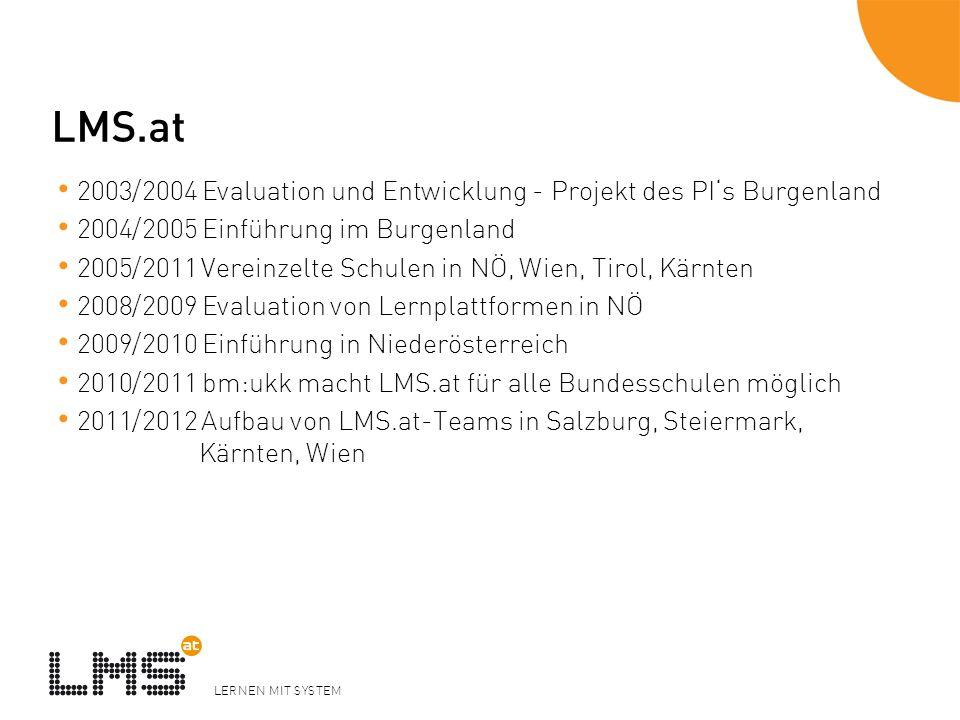 LERNEN MIT SYSTEM LMS.at 2003/2004 Evaluation und Entwicklung - Projekt des PIs Burgenland 2004/2005 Einführung im Burgenland 2005/2011 Vereinzelte Sc