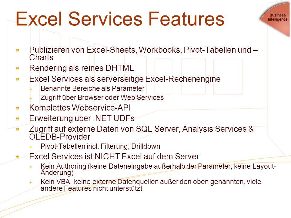 Excel Services Features Publizieren von Excel-Sheets, Workbooks, Pivot-Tabellen und – Charts Rendering als reines DHTML Excel Services als serverseiti