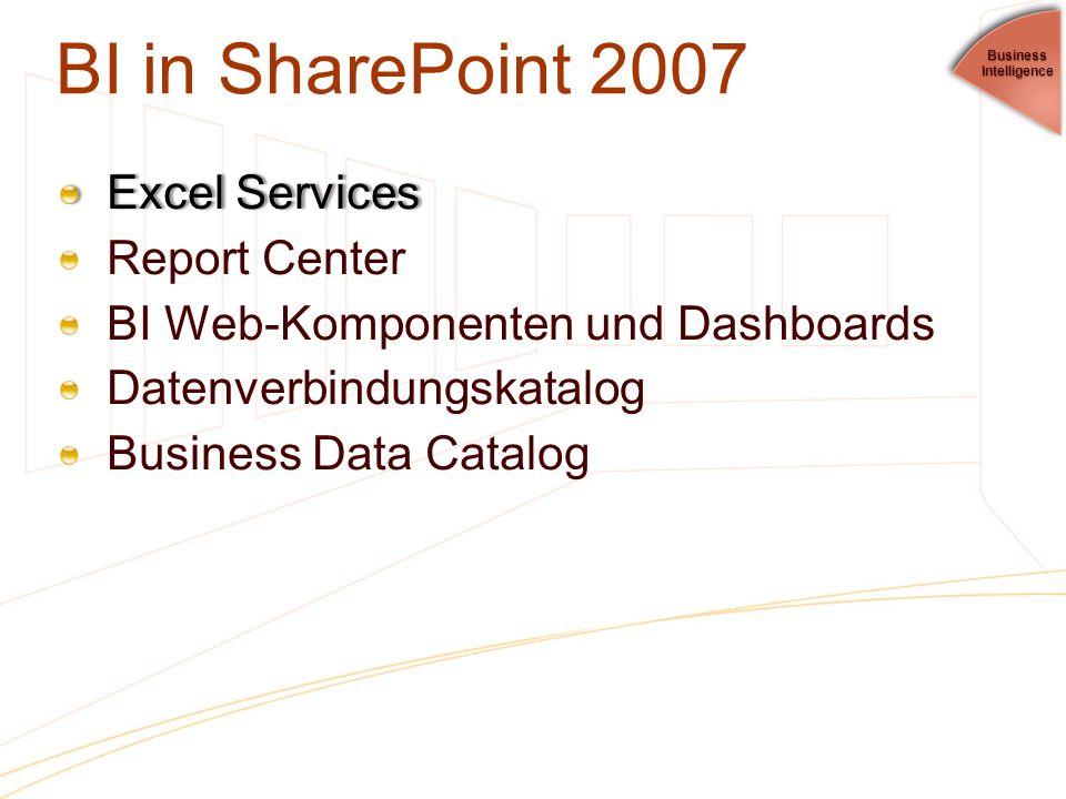 BI in SharePoint 2007 Excel ServicesExcel Services Report Center BI Web-Komponenten und Dashboards Datenverbindungskatalog Business Data Catalog Busin