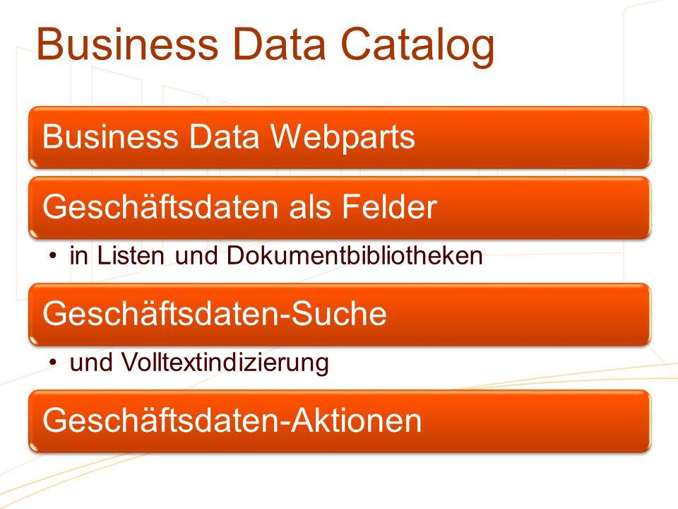 Business Data Catalog Business Data WebpartsGeschäftsdaten als Felder in Listen und Dokumentbibliotheken Geschäftsdaten-Suche und Volltextindizierung